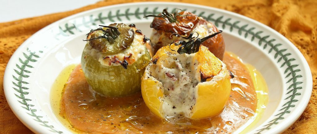 Stuffed Heritage Tomatoes with Goats Cheese, Coppa and Parmigiano-Reggiano