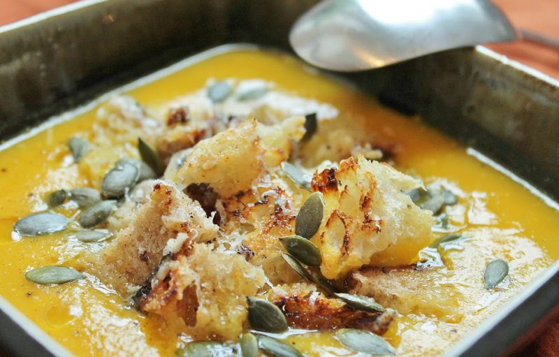 Pumpkin and Root Vegetables Soup with Parmigiano-Reggiano Croutons