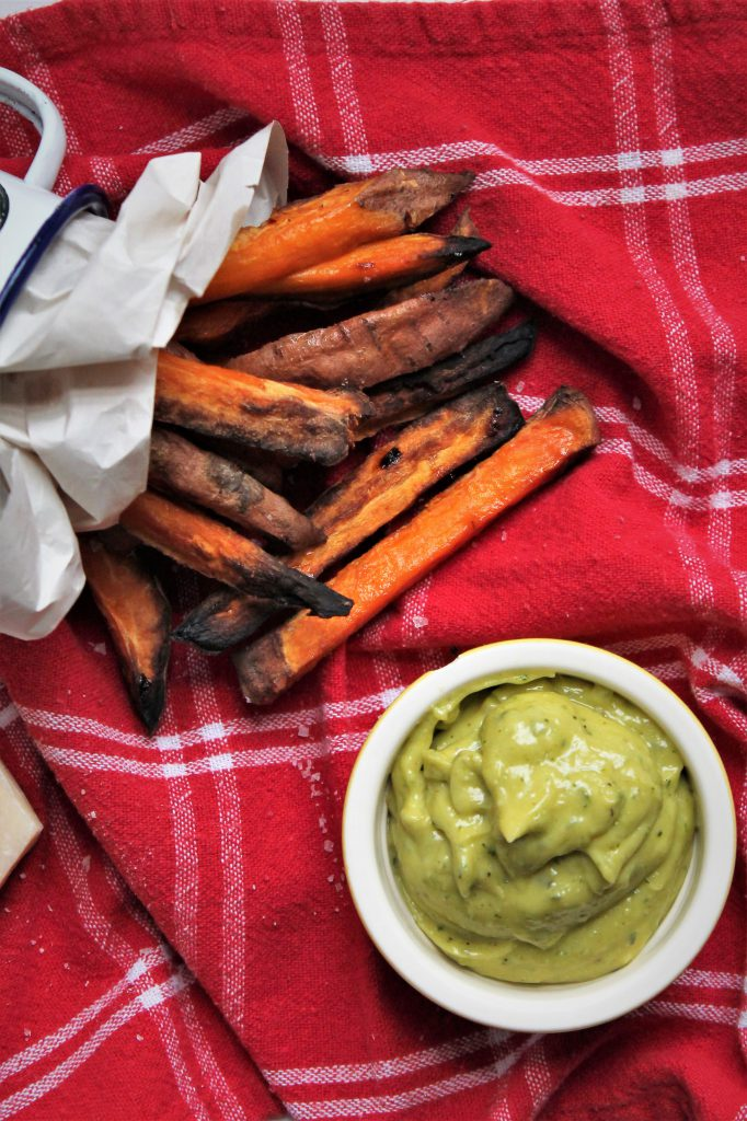 Sweet Potato Wedges with Parmesan and Basil Mayonnaise