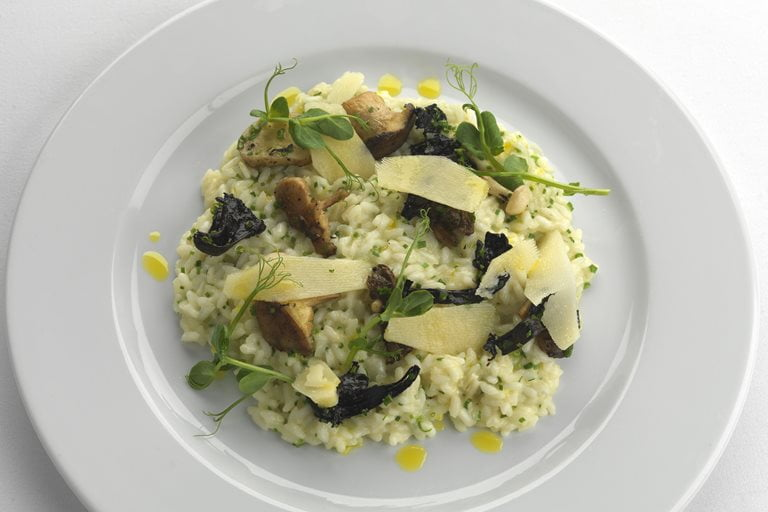 Mushroom and Pea Risotto with Parmigiano-Reggiano