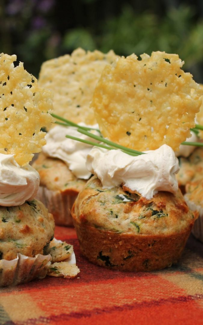 Parmigiano-Reggiano and Spinach Muffins with Pine Nuts