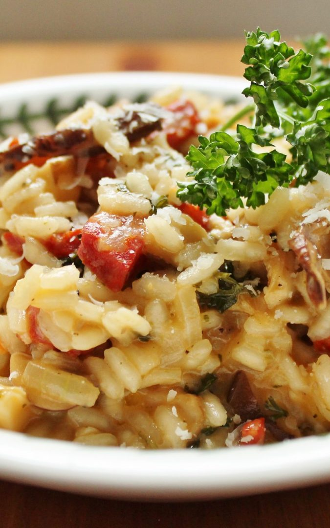 Parmigiano-Reggiano and Mushroom Risotto with Chorizo